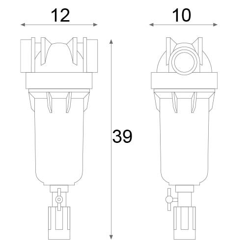 ابعاد فیلتر تصفیه آب ورودی ساختمان هایدرا