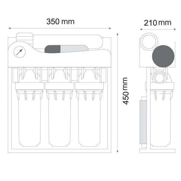 ابعاد دستگاه تصفیه آب